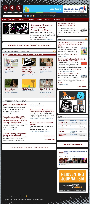Association of Alternative Newsmedia at Sunday April 21, 2013, 5 a.m. UTC